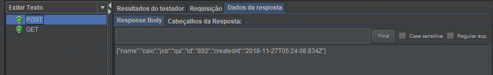 Resposta da requisição do método POST feita no JMeter