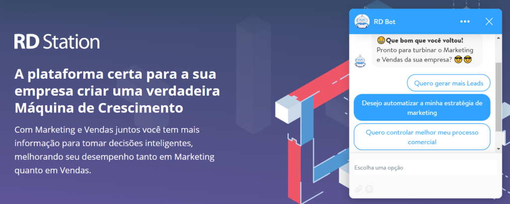 automação de marketing digital com chatbots rd station