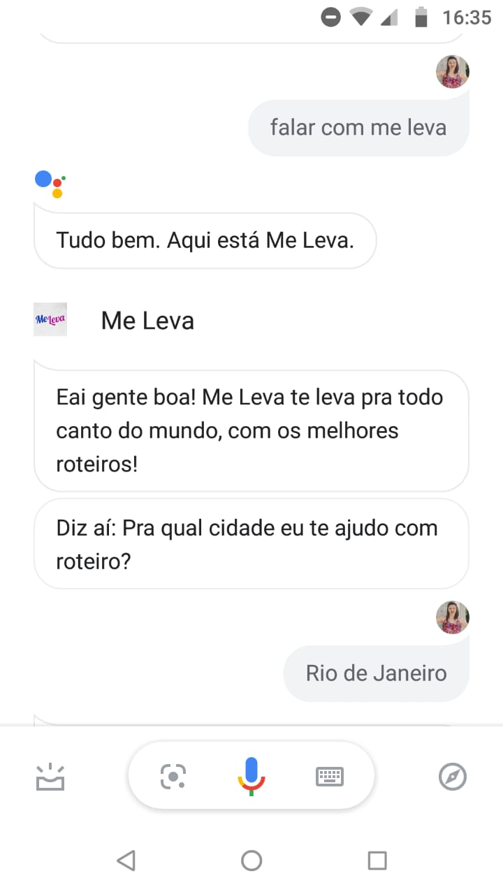me leva action no google assistant criado na take funcionamento